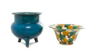 * Two Chinese Glazed Ceramic Articles Height of larger 6 1/2 x width 6 3/4 inches.