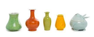 * A Group of Five Chinese Glazed Ceramic Articles Height of tallest 4 x width 4 1/4 inches.