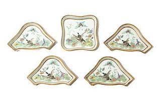 * A Famille Rose Porcelain Sweetmeat Set Width of largest 8 1/2 inches.