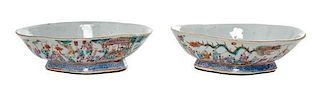 * A Pair of Famille Rose Porcelain Dishes Width of pair 7 7/8 inches.