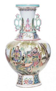 A Famille Rose Porcelain Vase Height 15 1/4 inches.