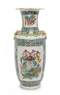 A Famille Rose Porcelain Vase Height 9 3/4 inches.