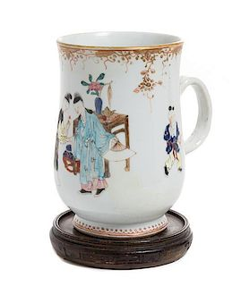 A Famille Rose Porcelain Mug Height 6 3/4 inches.