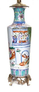 A Famille Rose Porcelain Vase Height of first 20 inches.