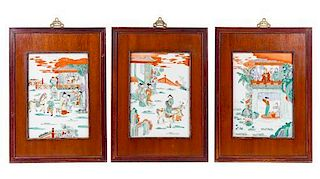 A Group of Three Chinese Famille Rose Porcelain Plaques Height of each 13 1/2 x width 9 1/2 inches.