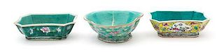 A Group of Three Famille Rose Turquoise Glaze Porcelain Bowls Height of first 2 1/4 x width 6 5/8 x depth 5 1/8 inches.