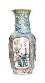 A Famille Rose Porcelain Vase Height 17 3/8 inches.