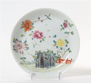 A Famille Rose Porcelain Shallow Dish Diameter 9 3/8 inches.
