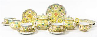 A Famille Jaune Porcelain Tea Service Width of widest 8 5/8 inches.