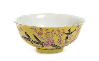 A Famille Jaune Porcelain Bowl Diameter 6 1/2 inches.