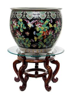 * A Famille Noire Porcelain Fish Bowl Height of porcelain 14 1/4 inches.