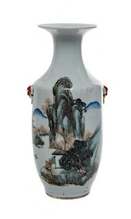 * A Polychrome Enameled Porcelain Vase Height 10 3/4 inches.