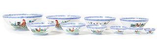 A Set of Ten Polychrome Enamel Eggshell Bowls Diameter of largest 9 7/8 inches.