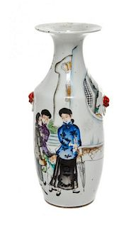* A Polychrome Enameled Porcelain Vase Height 11 inches.