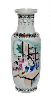 * A Polychrome Enameled Porcelain Vase Height 13 1/8 inches.