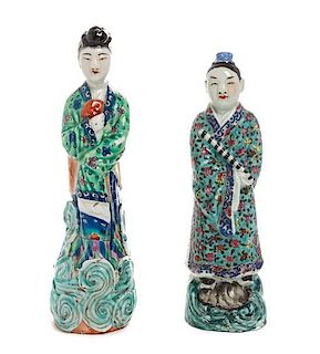 Two Polychrome Enameled Porcelain Figures Height of taller 10 1/4 inches.