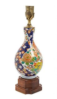 A Polychrome Enamel Porcelain Vase Height overall 21 1/4 inches.