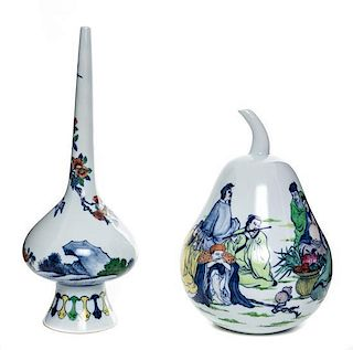 Two Polychrome Enameled Porcelain Vases Height of tallest 12 inches.