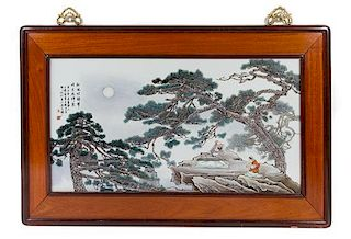A Polychrome Enameled Porcelain Plaque Height 17 x width 32 inches.