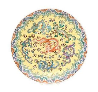 A Polychrome Enameled Porcelain Charger Diameter 18 inches.