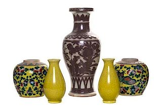 * A Group of Five Chinese Porcelain Articles Height of tallest 12 inches.