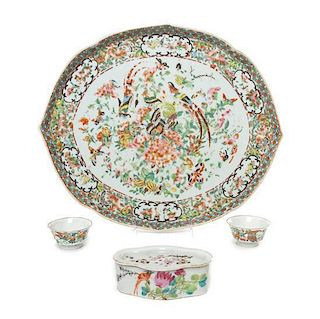 A Group of Four Chinese Porcelain Articles Width of tray 16 inches.