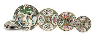 A Group of Eight Chinese Porcelain Circular Dishes Diameter of largest 9 5/8 inches.