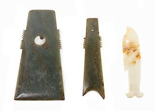 * A Group of Three Archaistic Jade Tools Length of largest 8 1/2 x width 4 1/4 inches.