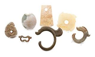 * A Group of Seven Archaistic Jade Articles Length of largest 10 inches.