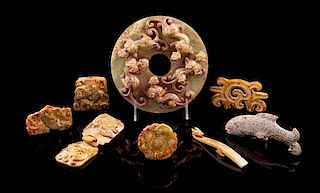 * A Group of Nine Archaistic Jade Articles Diameter of first 7 inches.