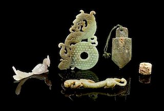 * A Group of Five Jade Carvings Length of longest 5 1/2 inches.