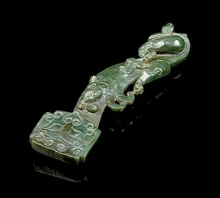 * A Spinach Jade Ruyi Scepter Length 6 1/4 inches.