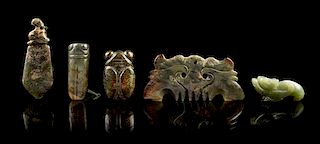 * A Group of Five Jade Carvings Length of longest 5 1/8 inches.