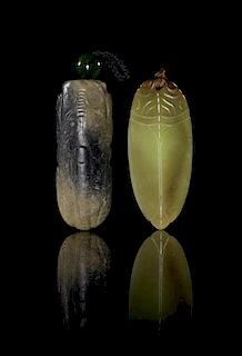 * Two Carved Jade Toggles Height of taller 3 inches.