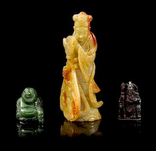 * A Group of Three Jade Carvings Height of tallest 6 5/8 inches.