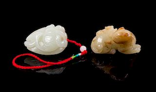 Two Carved Jade Toggles Length of longer 2 inches.