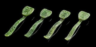 * Four Jade Hairpins Length 3 1/4 inches.
