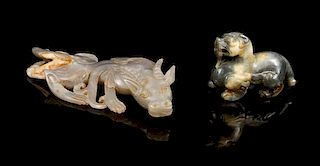 * Two Jade Carvings of Mythical Beasts Length of longer 6 5/8 inches.