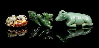 * A Group of Three Jade Carvings Length of longest 6 1/4 inches.