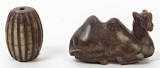 * A Carved Jade Figure of a Camel Width of camel 3 1/8 inches.