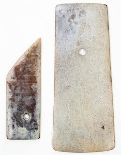 * Two Jade Axes Length of longer 8 5/8 inches.