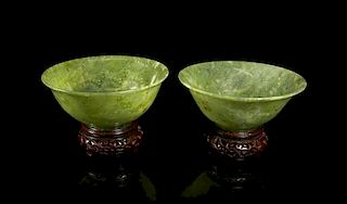 A Pair of Carved Jade Bowls Diameter 5 1/8 inches.