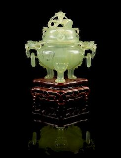 * A Carved Jade Tripod Censor and Cover Height 4 1/2 inches (without stand).