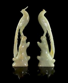 * Two Jade Figures of Pheasants Height 8 inches.