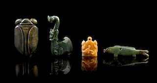 * A Group of Four Carved Jade Articles Length of longest 4 1/4 inches.