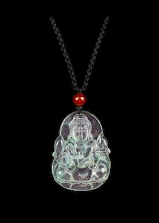 A Chinese Jadeite Pendant Length 2 inches.