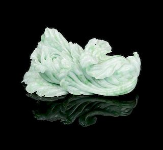* A Jadeite Carved Cabbage Width 7 5/8 inches.