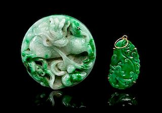 * Two Carved Jadeite Articles Diameter of larger 1 7/8 inches.