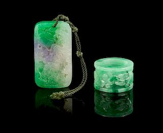 * Two Jadeite Articles Height of first 2 3/8 inches.