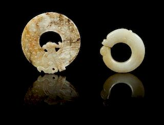 * Two Carved Jade Pendants Height of first 2 3/8 inches.